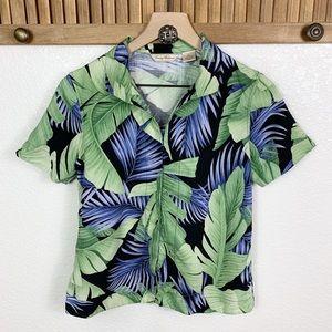 Tommy Bahama Silk Hawaiian Leaf Button Up Top